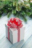 Christmas gift box and fir tree