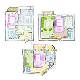 Set of interior apartment, sketch for your design