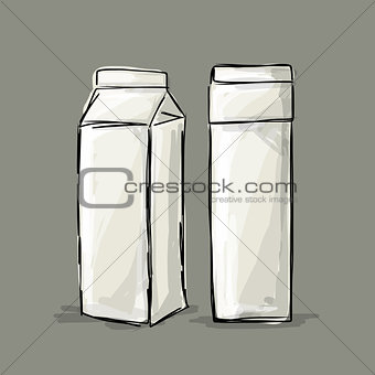Cardboard milk package, sketch for your design