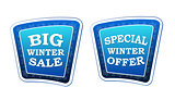 big winter sale and special winter offer on retro blue banners w