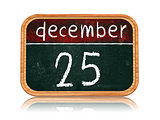 december 25 on blackboard banner