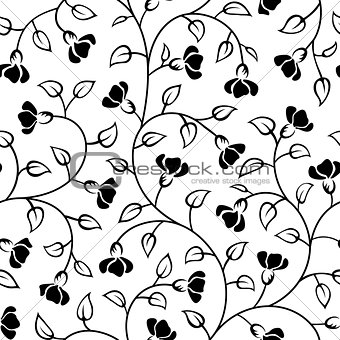 abstract flowers leaf seamless pattern