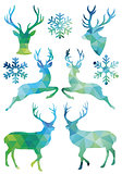 Geometric Christmas deer, vector set