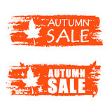 autumn sale drawn banners with fall leaf