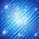 abstract blue background with shining lines and stars