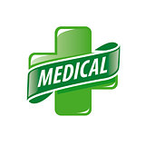 vector logo green cross and a ribbon