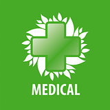vector logo green cross and leaves