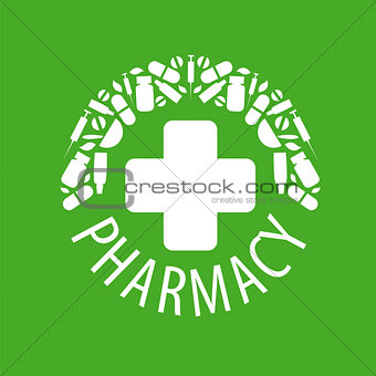 Abstract vector logo on a green background