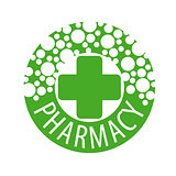Round vector logo with pills to pharmacies