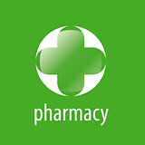 Round vector logo cross for pharmacy