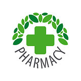 Round vector logo for pharmaceutical companies