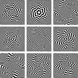 Illusion of wavy rotation. Design elements set.