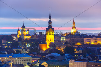 Aerial view old town at sunset, Tallinn, Estonia