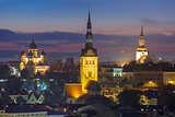Night aerial view of old town, Tallinn, Estonia