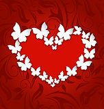 Cute postcard with heart made in paper butterflies for Valentine