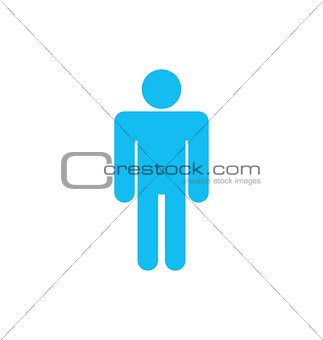Flat icon of Male Isolated on White Background