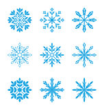 Set of different snowflakes isolated on white background