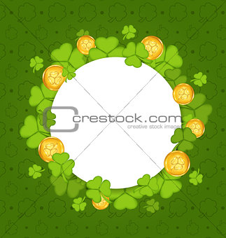 Celebration card with shamrocks and golden coins for St. Patrick