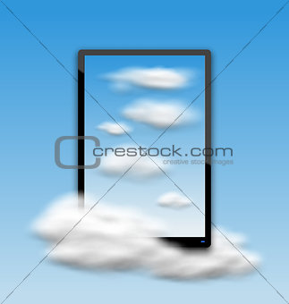 Black Tablet PC Computer with Clouds and Blue Sky