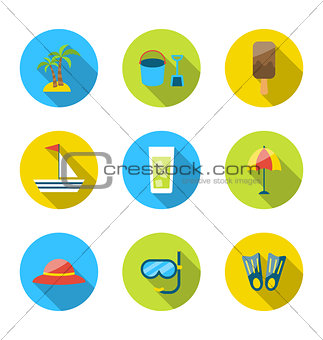 Flat modern set icons of traveling, planning summer vacation