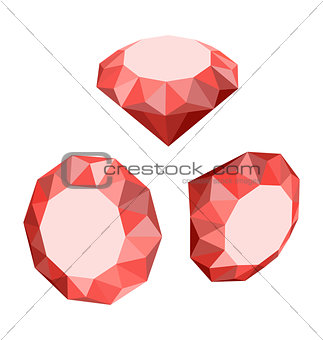 Flat Icon of Set Diamond, Three-dimensional Design