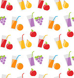 Seamless Pattern with Different Fresh Fruit Juices