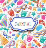 Festive postcard with carnival colorful icons and objects