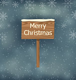 Snow covered wooden sign, Merry Christmas background