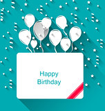 Greeting Invitation with Balloons for Happy Birthday