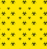 Seamless Pattern with Bio Hazard Signs, Wallpaper Danger Symbols