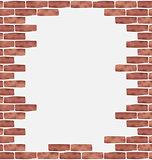 Broken brown brick wall, grunge texture background