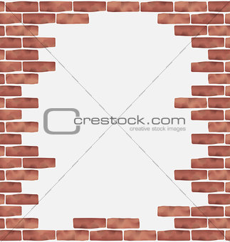 Broken brown brick wall, grunge texture background