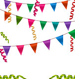 Colorful Buntings Flags Garlands and Serpentine