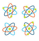 Atom Symbols for Science, Colorful Icons Isolated on White Background