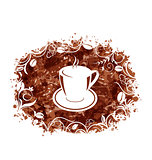 Brown Grungy Banner with Coffee Cup and Beans