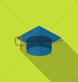 Flat icon graduation cap with long shadow style
