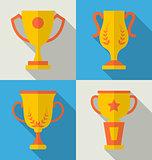Trophy Flat Icons Set of Success Award