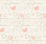 Grunge vector seamless pattern with hand painted hearts and words love.