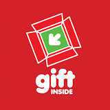 vector logo box for gifts on a red background