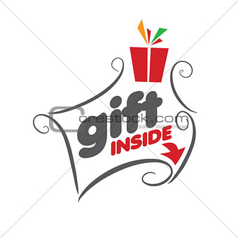 Abstract vector logo with patterns for gifts