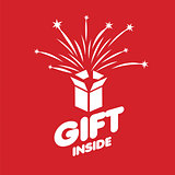 Abstract vector logo box with fireworks