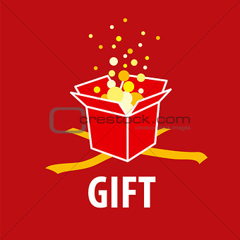 Abstract vector logo gift on a red background