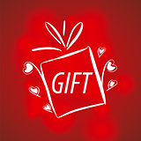 Abstract vector logo for gifts on a red background
