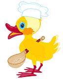 Cartoon duckling with spoon