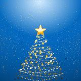 Christmas tree over blue