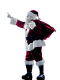 santa claus showing pointing silhouette isolated
