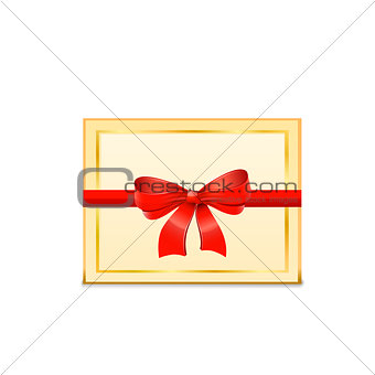 Blank Gift Card and red bow. Vector