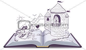 Knight is kneeling in front of princess in castle. Open book