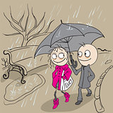 Loving couple walking park in rain. Autumn weather rain