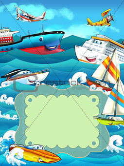 Cartoon ships and the sea